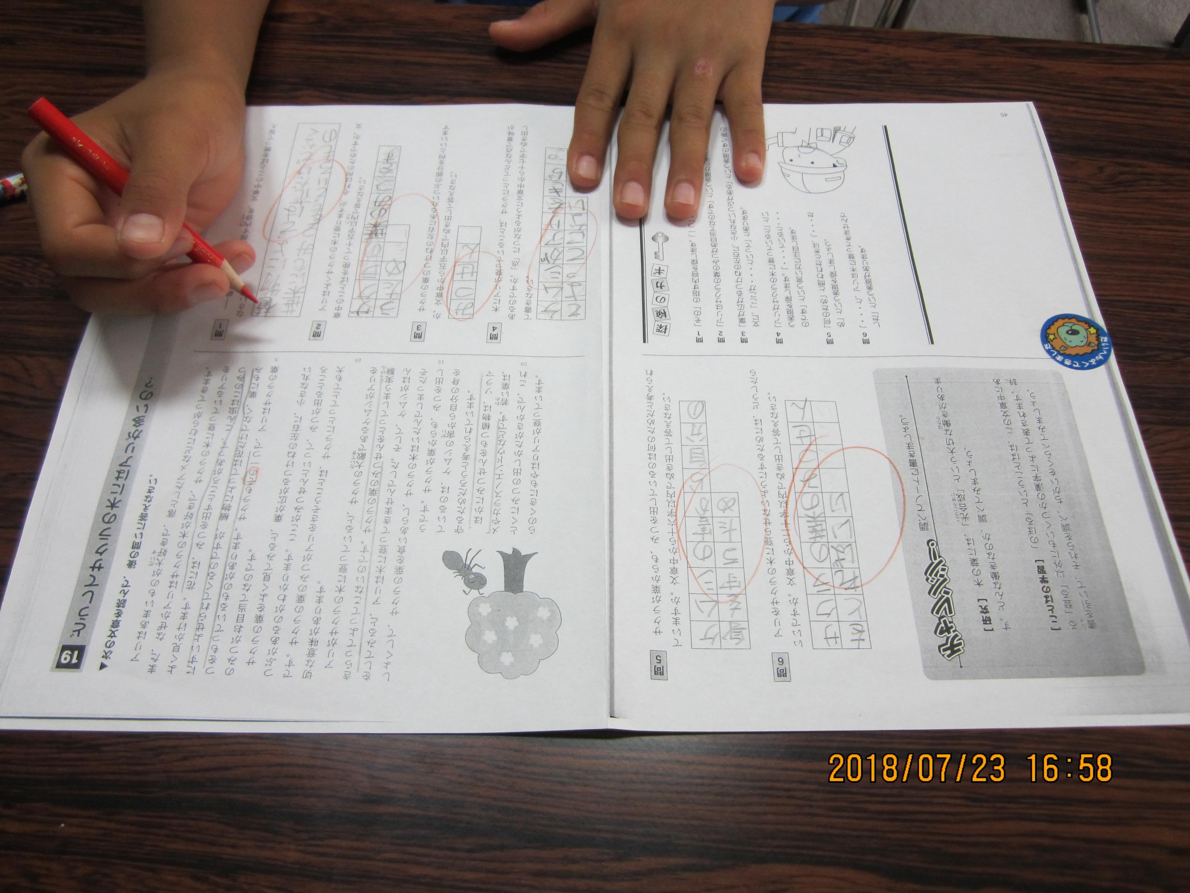 小学校五年生 Sくん 国語読解問題 全問正解 学習塾凛