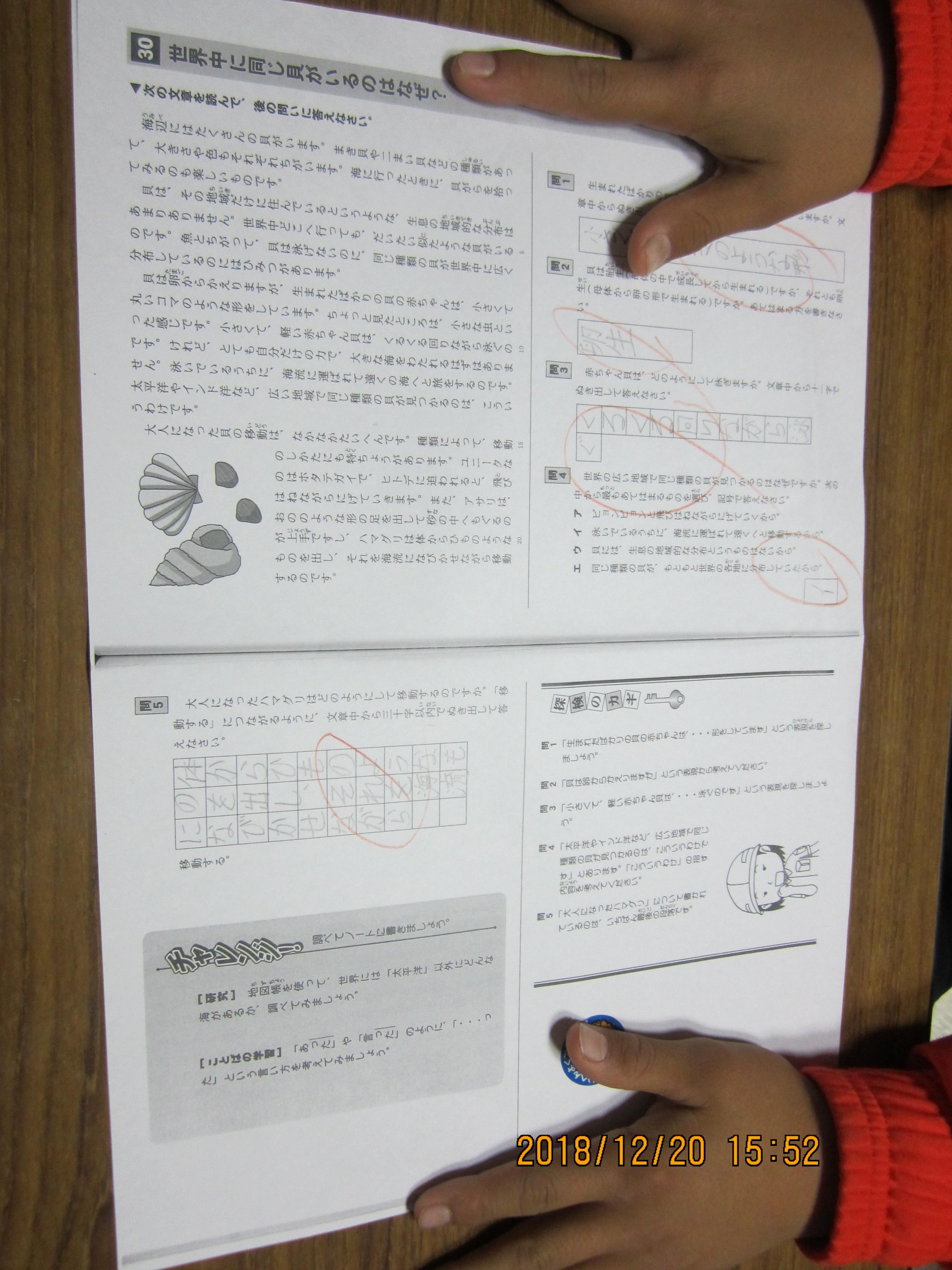 12月20日小学校五年生の男の子sくん国語の読解プリントで
